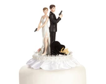 Super Sexy Western Cowboy Wedding Cake Topper - Custom Painted Hair Color Available - 101107