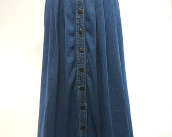 80s Vintage Linda Lundstrom dark denim long skirt/ Small/ buttons/ pockets/ cotton / denim/ Vintage