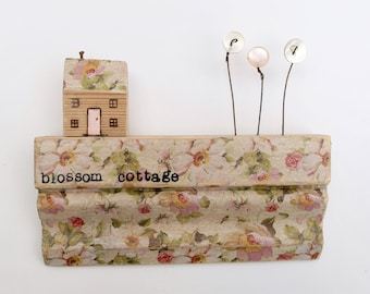 Pip house -  .. blossom cottage on architrave, salvaged wood art, housewarming gift, home, country rustic decor