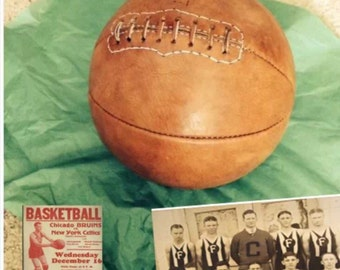 Antique Style Leather Basketball - Great for Man Cave!