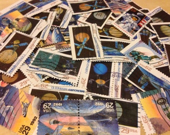 100 space postage stamps - moon, outer space, astronaut, planets