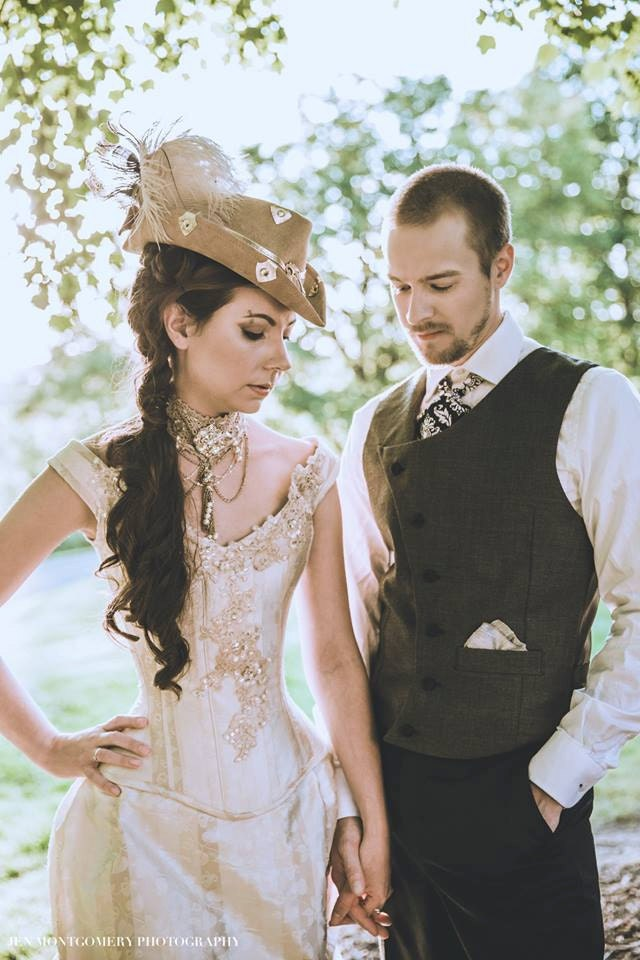 Steampunk Wedding Dress Off the Shoulder Gown Corset Bustle