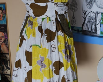 sun dress, sunflower, flare, artsy, cotton, empire waist, boho dress, leaf, vintage, summer dress, spring dress, tank dress, sleeveless