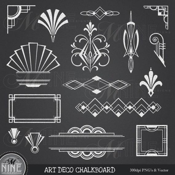 CHALK ART DECO Clipart: Chalkboard Art Deco Clip Art Design