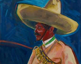 Viva La Revolucion, Original Oil Painting, Mexican History, Mexican Art, Mexican Revolution, Zapata, Oil on Canvas, Mexican Decor