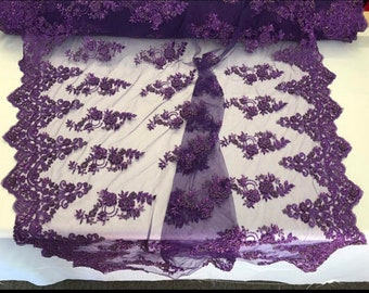 Purple Hand Beaded Imperal Sequins Lace-Sold By The Yard