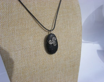 Celtic Triskelion Irish Pebble Necklace