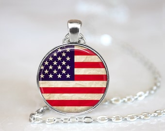 American Flag Glass Pendant, Photo Glass Necklace, Glass Keychain, Glass Jewelry