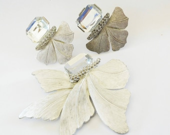 LARGE Silver Brooch & Earrings Modernist Ginkgo Leaves Set Vintage XL Rhinestone and Silver tone Leaves Statement Jewelry
