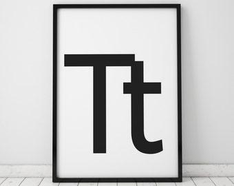 Tt Letter Print, Initial Wall Art, Scandinavian Art, Scandinavian Poster, Initial Poster Tt Letter Poster, Tt Letter Print, INSTANT DOWNLOAD