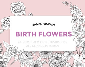 Hand-Drawn Vector Birth Flowers