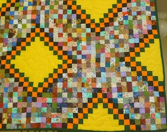 Postage Stamp Quilt - Full Size - Bright Colors with Green, Orange, Yellow