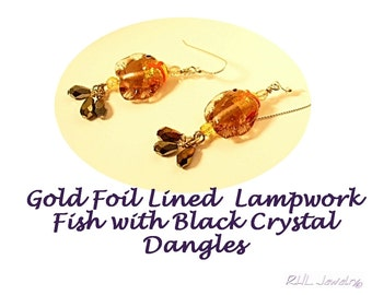 Funny Fish Earrings, Lampwork Fish Jewely, Fish Dangles, Pisces Fish Jewelry -  E2012-26