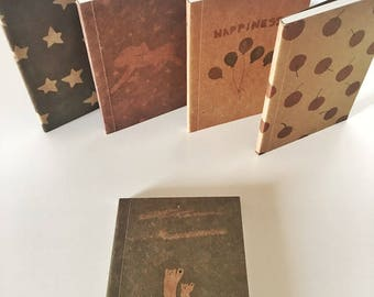 Mini Craft paper notebook with illustrations, for writing, clipboard, scrapbooking