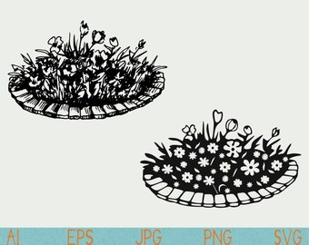 flowerbed svg/flower bed/flowers silhouette/cut file/vinyl/silhouette cameo/cricut/vector/clipart/stencil/logo/doodle/sketch/hand drawn