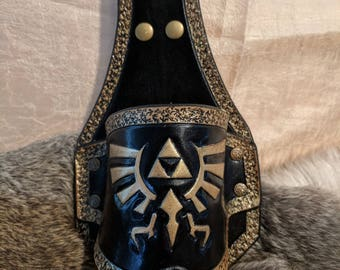 Legend of Zelda Inspired Hand Tooled Triforce Leather Beer Holster