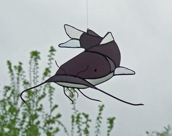 Stained Glass Catfish Opal Flashed Antique Glass Suncatcher