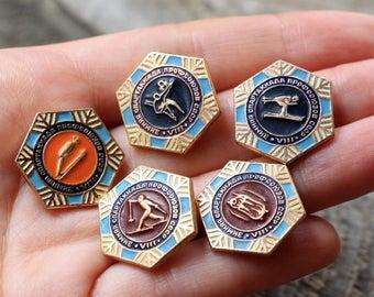 Rare pin Retro pin USSR pin Labor union competition Various sports pin Yellow pin Gold pin Lot of pins Orange pin Blue pin Brown pin gift