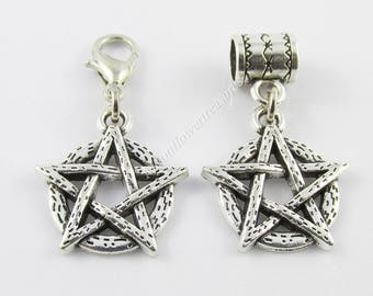Wicca Pentagram Charm Pagan Witch Select European Charm or Clip on Charm