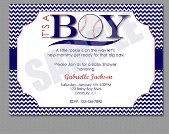 Customized its a boy chevron baseball baby shower Invitation Printable File.