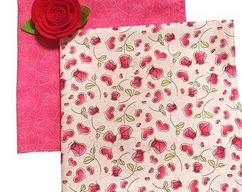 Valentine Napkins, Cloth Valentine Napkins, Hearts and Roses Double-Sided Dinner Napkins