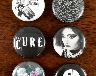 """Goth New Wave 80's 1"""" Pin Back Buttons and Magnet set of 6"""