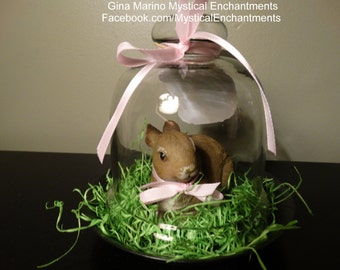 Easter Bunny Glass Cloche