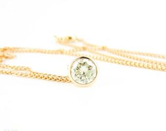 Bezel Set Diamond Pendant, 0.78 ct Round Brilliant Cut Diamond in 18ct Rose Gold Slider Necklace.