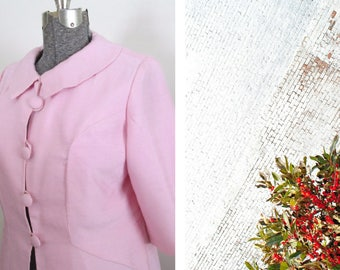 Mid Century Lightweight Pink Coat 1950s 1960s First Lady Fashion