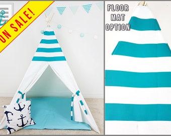 Turquoise White Stripes Combo Kids teepee tent Teepee play tent Playhouse Boy teepee Childrens teepee Enfant Tipi Indoor teepee Kids tipi