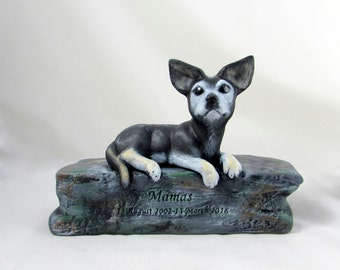 Ceramic Custom Bottom Loading Painted Chihuahua Urn-hand made urn