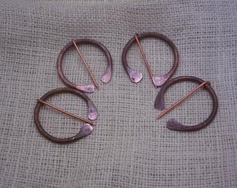 Handforged antique copper brooch blanket pin
