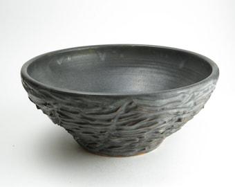 Large Stoneware handmade bowl, wheel thrown, hand carved, ceramic bowl, dish,