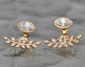 BRIDAL Dainty CZ Leaf Jacket Earrings,Choose Your Finish,Gold,Silver Rose Gold Marquise Stud,Post,Earring Jacket,Clear Crystal,White Diamond