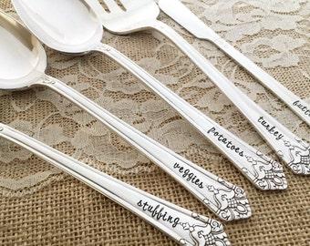 5 piece thanksgiving serving set. hand stamped serving set, vintage silverplate. Her majesty