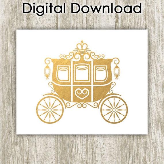 Princess Carriage Printable Gold Nursery Decor Gold Foil