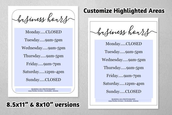 Business hours sign printable template hours of operation like this item wajeb Image collections
