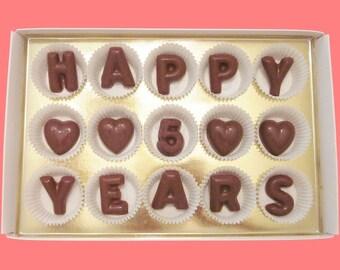 5th Anniversary Gift for Her 5 Year Anniversary Gift for Husband Wife Gift Wedding Anniversary Boyfriend Fun Happy 5 Years Chocolate Message