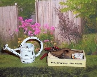 Dollhouse Miniature Gardening Tool Box Set
