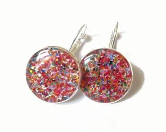 GLITTER EARRINGS - Rainbow glitter earrings - Glitter dangle earrings - sparkly jewelry - colorful earrings - resin - glitter jewelry