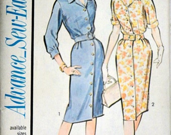 Vintage 60's Advance 3441 Sew-Easy Sewing Pattern, Misses' Front Button Dress, Size 18, 38 Bust, Uncut FF, 1960's Fashion