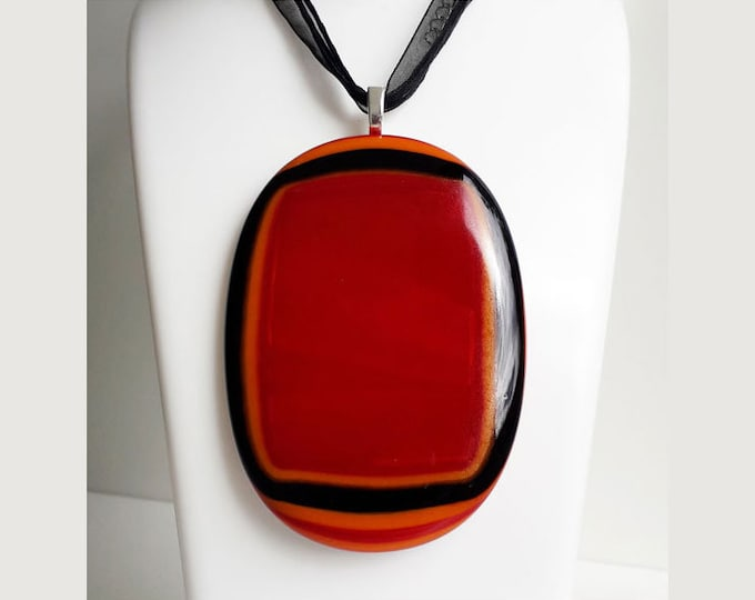 XL fused glass pendant, red, orange and black fused glass necklace XL ginormous size!