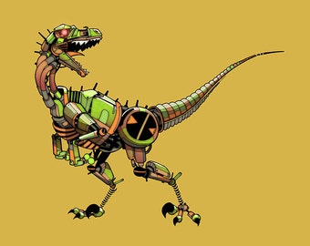 Velociraptor Robosaur art print 8x10