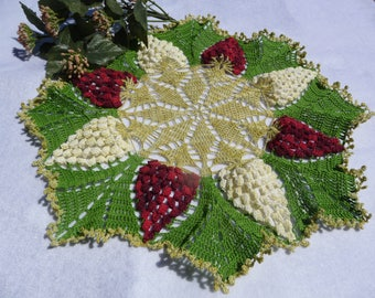 Hand-made Mercerized cotton crochet doily 'grape'.