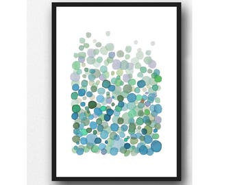 Abstract print, watercolor art print, teal green abstract watercolor painting, modern fine art prints