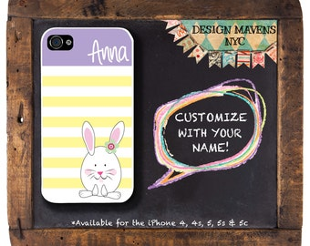 Easter Bunny iPhone Case, Personalized Easter Monogram iPhone Case, iPhone 4, iPhone, iPhone 5, iPhone 5s, iPhone 5c, iPhone 5c, iPhone 6