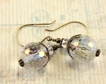 Vintage Style Earrings, Crystal Earrings, Crystal AB