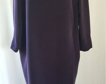 80's Aubergine Silk Layered Oversized Dress