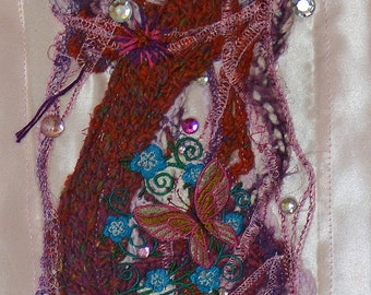 "Tapestry, ""Mystical vine of jewels and hidden surprises"", pink, purple and orange"