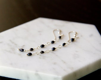 Delicate and Sophisticated Navy Blue Pearl Dangle Earrings in Sterling Silver